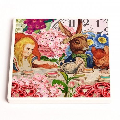 Alice and Rabbit - Ceramic Coaster