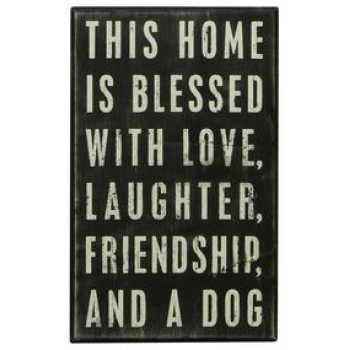 Home Blessed Dog - Wooden Box Sign  W13 x H20 x D4.5cm