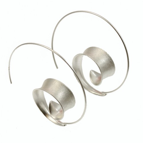 Curl Hoop Silver Earrings